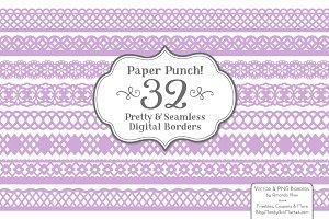 Lavender Lace Borders & Clipart