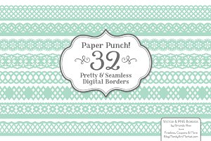 Mint Lace Borders Vectors & Clipart