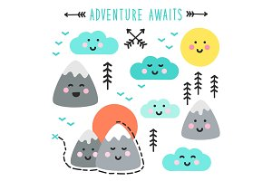 Cute hand drawn elements with Kawaii