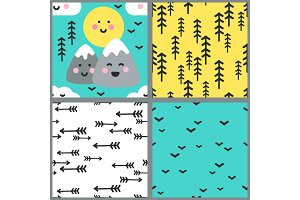 Cute set of seamless patterns with