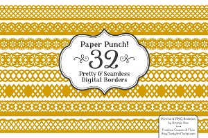 Mustard Lace Vector Clipart Borders