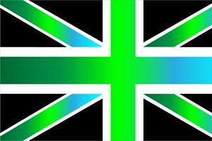 British flag gradient blue and green