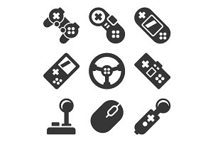 Gamepads Icons Set. Game Controllers