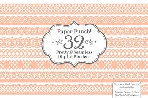 Peach Lace Vector Borders
