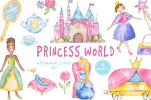 Princess world watercolor clipart