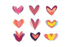 Creative red hearts icon set