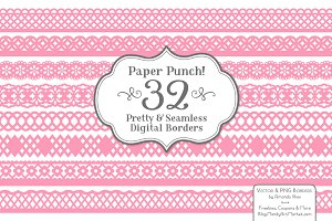 Pink Lace Borders Clipart & Vectors