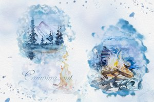 Watercolor Camping Out Clipart Set