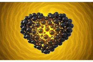 black heart made of spheres with