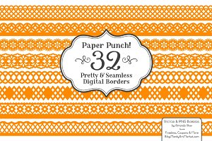 Tangerine Orange Lace Borders