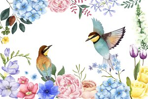 Illustration of flowers and birds