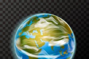 Bright realistic earth planet