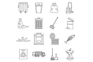 Garbage thing icons set, outline