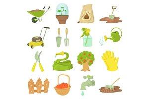Gardener tools icons set, cartoon