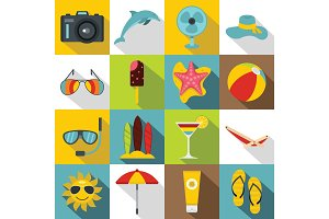 Summer rest icons set, flat style