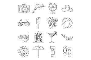 Summer rest icons set, outline style