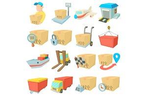 Cargo logistics icons set, cartoon