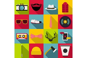 Hipster items icons set, flat style