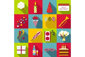 Happy birthday icons set, flat style