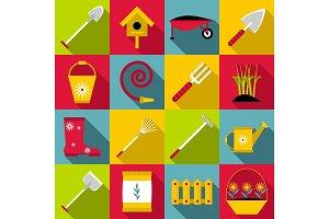 Gardener tools icons set, flat style