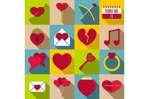 Saint Valentine items icons set
