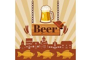 Beer pub concept, cartoon style