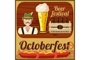 Beer Oktoberfest concept, cartoon