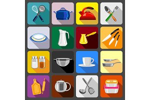 Kitchenware dishes icons set, flat