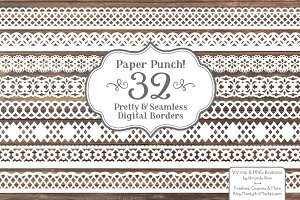 White Lace Borders Clipart & Vectors