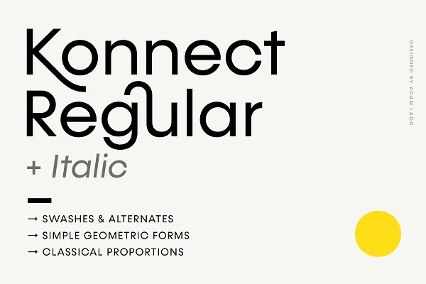 Sans Serif Fonts: Adam Ladd - Konnect Regular + Italic Fonts