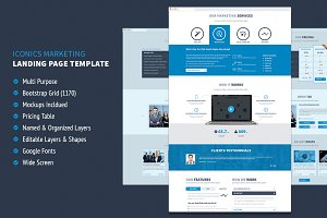 Iconic Marketing PSD Landing Page