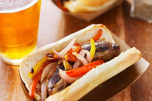 grilled bratwursts with peppers