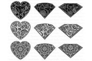 Gem Mandala SVG, Diamond Mandala SVG