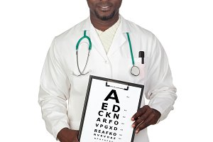 Oculist man with a vision exam chart
