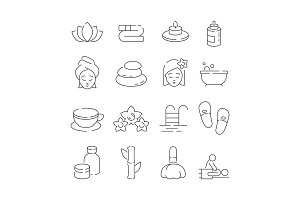 Spa icon set. Wellness therapy