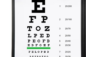 Vision exam chart on a folder