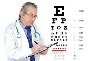 Senior oculist man reviewing the eye