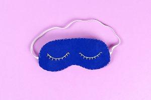 Diy blue felt sleep mask with white