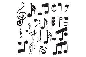 Music note. Doodles sketch musical
