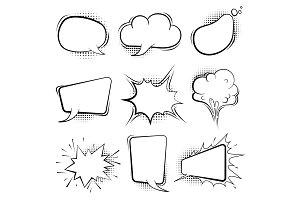 Comic speech bubbles. Retro cartoon