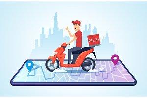 Pizza motorbike delivery. Urban