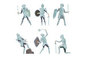 Cartoon knights. Medieval warrior on