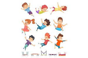 Kids jumping. Trampoline childrens