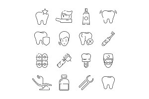 Dental icons. Medical protection