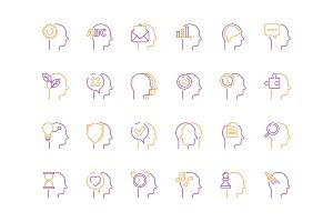Head mind icon. Smart idea and