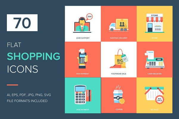 70 Flat Shopping and Commerce Icons