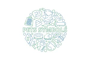 Pets symbols. Circle shape with