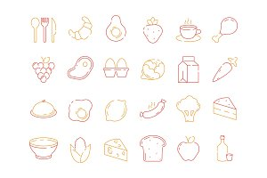Food colored icon. Bread fish fruits