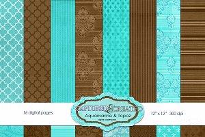 Aquamarine & Topaz Paper Pack 16