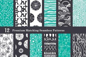 Black & Sea Foam Set of 12 Patterns